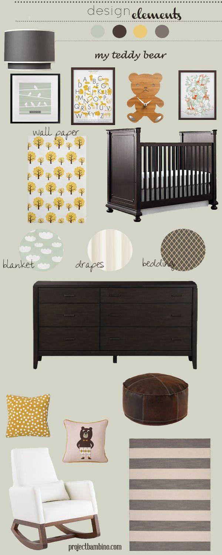 gray brown and yellow nursery design board featuring the Joya Rocker by Monte Design   Modern Nursery Furniture.