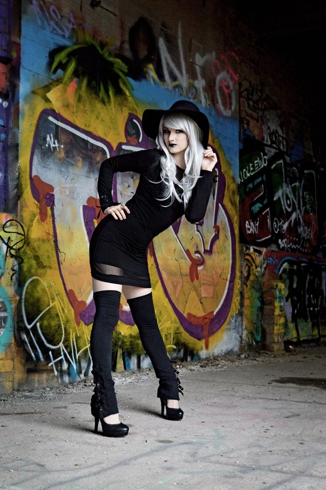 Pastel Goth / Nu Goth Darkling Silver hair Graffiti photoshoot at tikkutehdas abandoned factory - EMP Gothicana clothing Photo by Leena Flinck