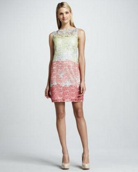 Kay Unger Illusion Colorblock Lace Cocktail Dress
