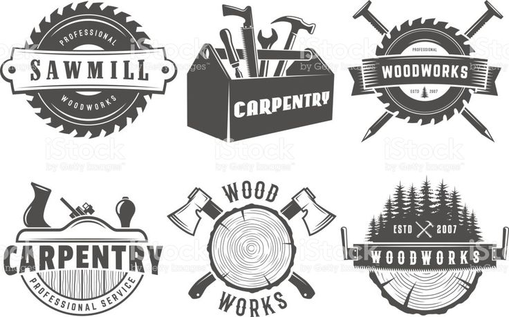 Woodwork logos. Vector badges for carpentry, sawmill