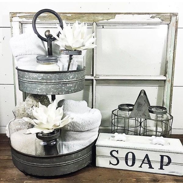 Farmhouse galvanized metal stand home decor for Bathroom decor farmhouse