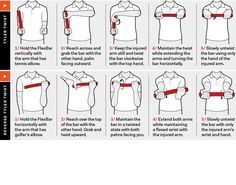 Some golf fitness exercises to help relieve sore elbows or strengthen the muscles to eliminate golfers elbow.