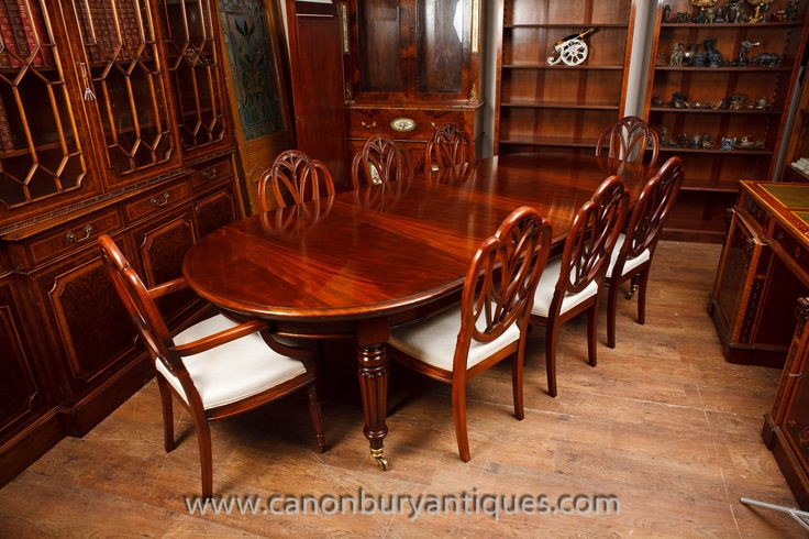 Mahogany Victorian dining table with set of matching Hepplewhite chairs. Sumptous high end dining set. A whole range of other Victorian dining tables to view in our Herfordshire antiques showroom  https://www.canonburyantiques.com/s/dining- tables/victorian-dining-tables/1/
