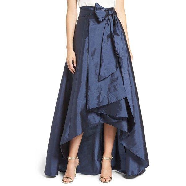 Women's Adrianna Papell High/low Taffeta Ball Skirt ($120) ❤ liked on Polyvore featuring skirts, navy, ball skirts, navy maxi skirt, navy blue maxi skirt, wrap skirt and taffeta skirt
