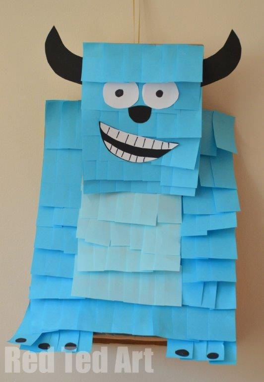 Sulley Pinata - this is made completely from Post-its! Would be great for a monster-themed party.