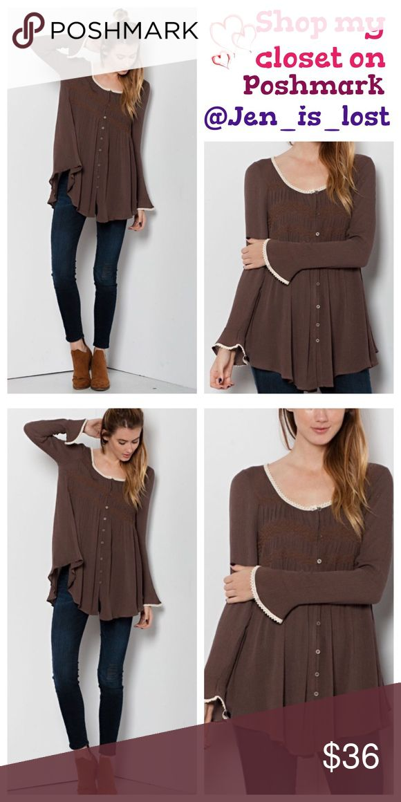 Brown Babydoll Tunic Small Brown Babydoll Tunic Rayon gauze button down Babydoll tunic with smocking.  Bell sleeves. 100% rayon. No Trades ✅Reasonable Offers Are Considered✅ Use the blue offer button. Tops