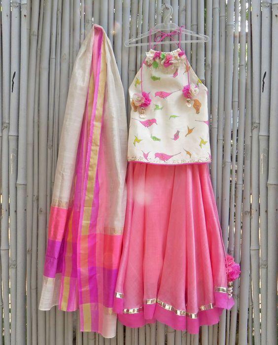 Bird Printed Ivory and Carnation Pink Lengha Set