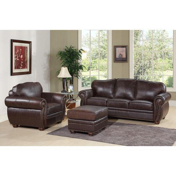 ABBYSON LIVING Richfield Premium Top Grain Leather Sofa, Armchair, And  Ottoman Set