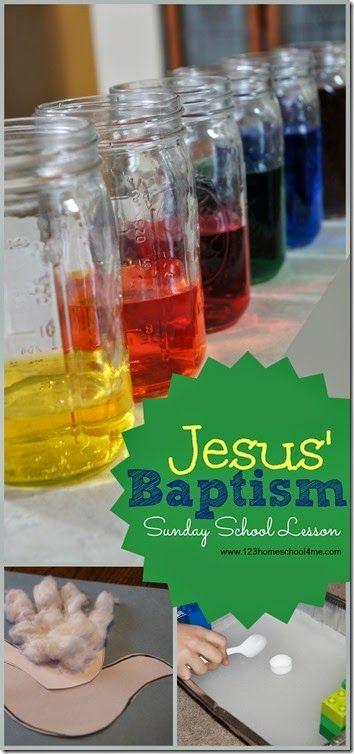 Jesus' Baptism - Sunday School Lesson for Preschool, Kindergarten, 1st grade, 2nd grade, adn 3rd grade kids! Lots of water activities for kids, holy spirit dove craft, and more.