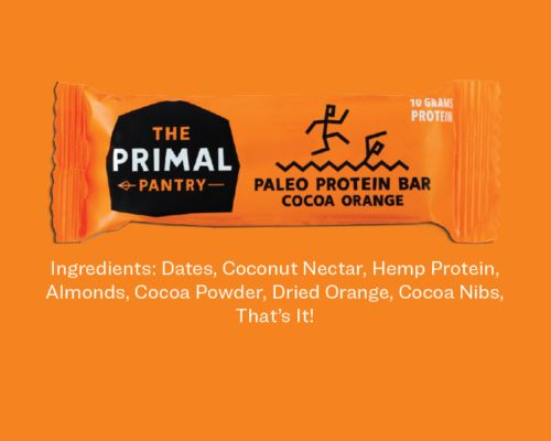 NEW! The Primal Pantry 'Paleo Protein Bar' with Cocoa & Orange. Get this tasty snack on our web-shop!
