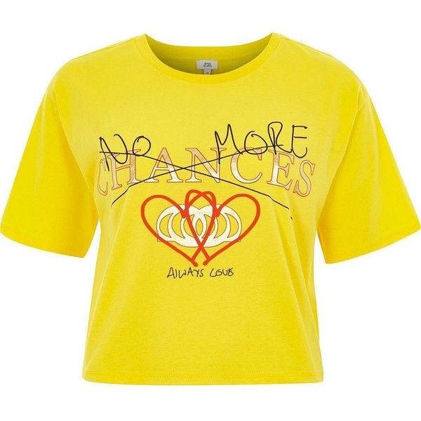 River Island Yellow 'no more chances' cropped T-shirt ($36) ❤ liked on Polyvore featuring tops, t-shirts, print t-shirts / vests, women, yellow, yellow vest, short sleeve t shirt, crew neck tee, j.crew vest and yellow crop top