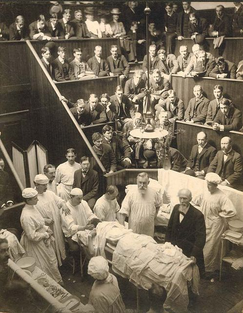 Vincenz Czerny (1842-1916) with Dr. Levi Cooper Lane in surgical amphitheater at Cooper Medical College by Stanford Medical History Center    1901