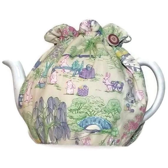 Teapot Cozy quilted tea warmer with  Bunnies in the Gardens