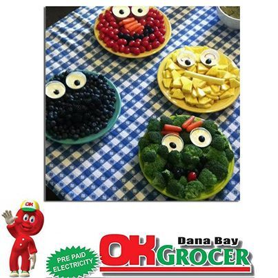 Now this is super creative for #kids to eat their veggies and fruit. OK Grocer Danabaai stock fresh and healthy vegetables and fruits. #fruits #vegetables