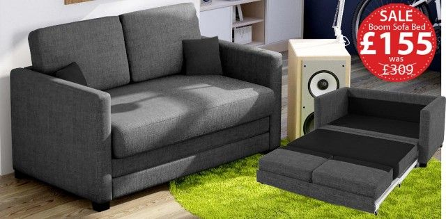 Boom 2 Seater Sofa Bed Grey Fabric