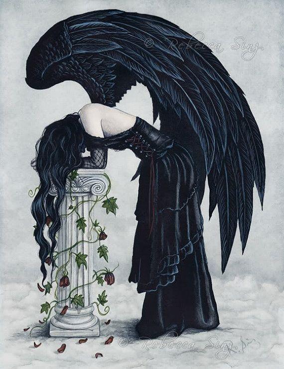 Zoufalství TISK Anděl gotický Sad Emotion Fantasy Art Sloupec Růže Ivy Mraky deprese tmavých šatech Akvarel 3 velikostech
