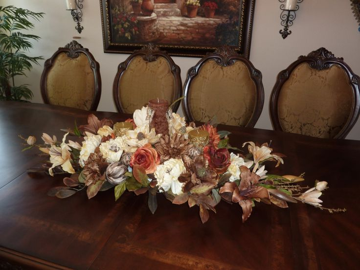 Custom Made Rustic Dining Room Table Centerpiece Floral Arrangement