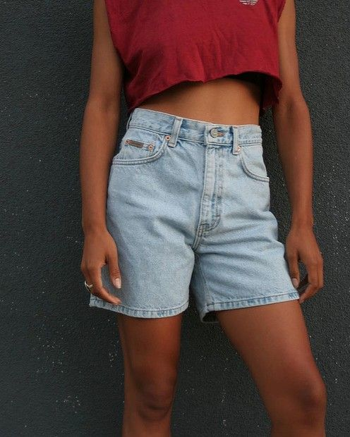 Vintage high-waisted #CalvinKlein denim shorts, $31.67 from #PeopleWear #Etsy