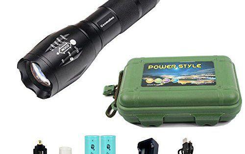 Coomatec SD-100 Kit Ultra Puissante 900 Lumens Lampe de Torche Militaire Poche LED rechargeable Zoom Flashlight 18650 Chargeur: 1.…