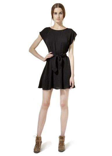 Rebecca Taylor Knot Waist Dress in BlackRebecca Taylor