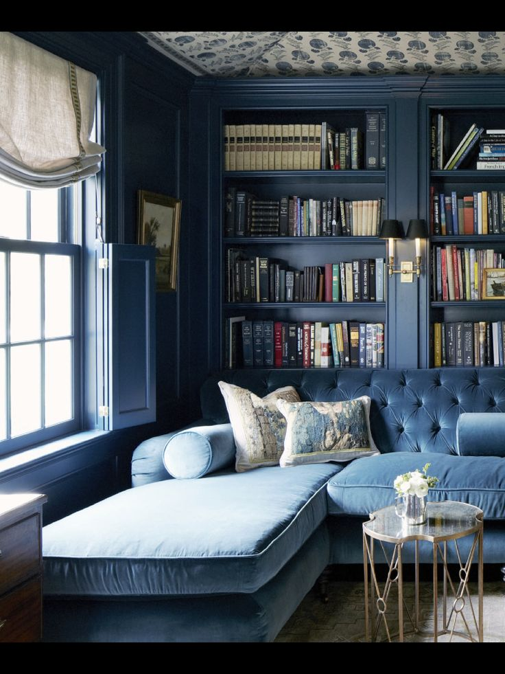Beautiful Blue Library Oh In Heaven Monochromatic