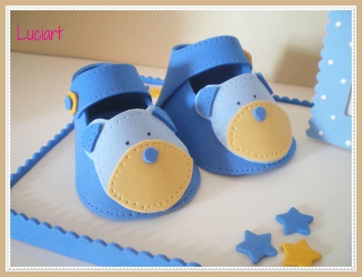 Resultado De Imagen Para Baby Shower Nino Recuerdos Originales Boy Baby Shower Ideas Bebes En Foami Moldes Zapatitos De Bebe