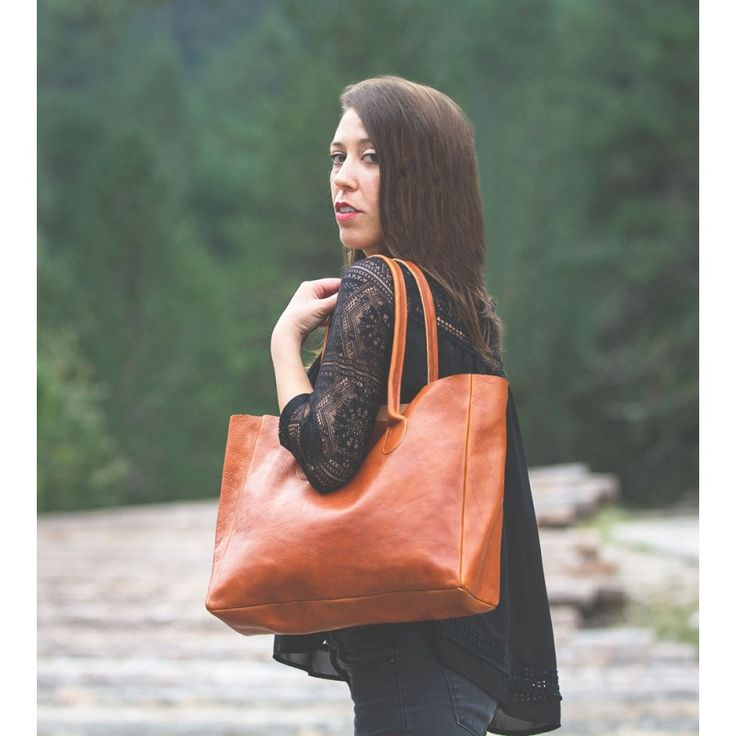Leather Shopper in Chestnut Brown