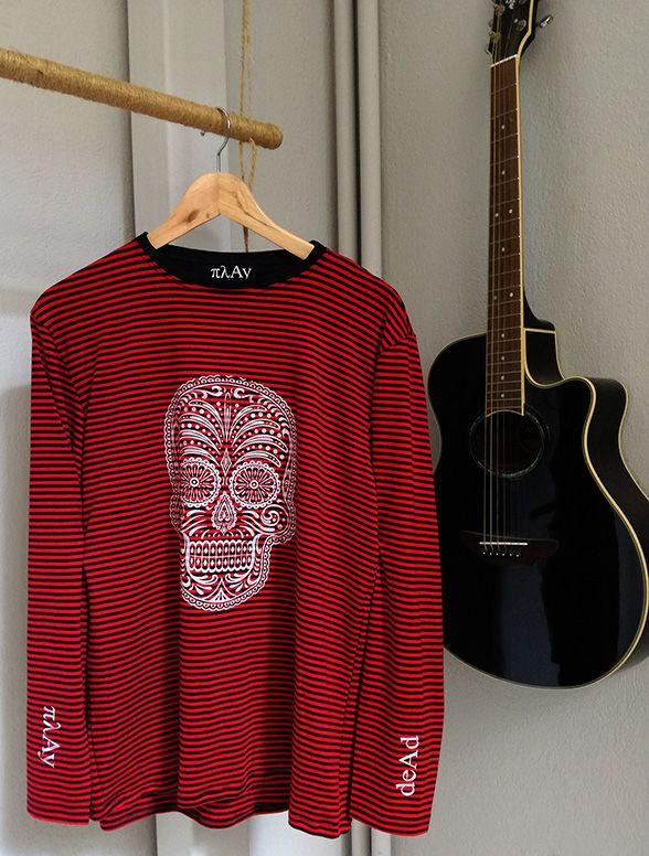 Play Dead long sleeve tee  #πλAy #playshirts #longsleeve #tee #tshirt #skull #diadelosmuertos #mexican #guitar #rock #punk #play #dead #mens #clothing #street #wear #printed #silk #screen