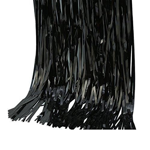 2pcs 3 X 8 Gold And Black Metallic Tinsel Foil Fringe Curtain