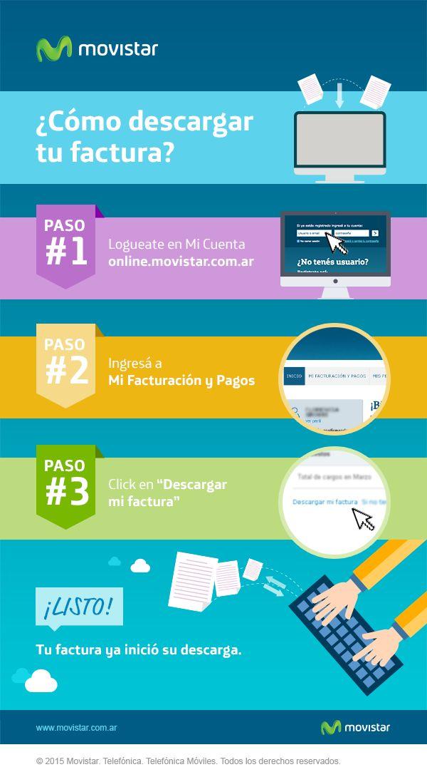 ¿Querés saber cómo descargar tu factura? Accedé a http://online.movistar.com.ar/?utm_source=pinterest&utm_medium=social_media&utm_content=descargafactura&utm_campaign=contenidos y seguí los pasos. Si tenés otras dudas, ingresá en http://www.movistar.com.ar/atencion-al-cliente?utm_source=pinterest&utm_medium=social_media&utm_content=descargafactura&utm_campaign=contenidos #AtencionAlCliente - #CómoDescargarTuFactura - #CómoDescargarMiFactura