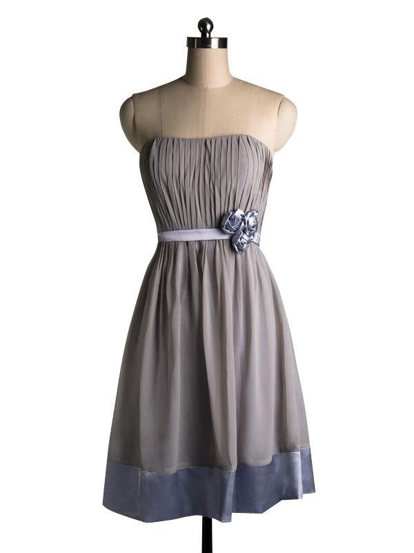 2015 Sleeveless Satin Grey Strapless Flowers Zipper Short Length Homecoming / Cocktail / Formal Dresses TBQP113