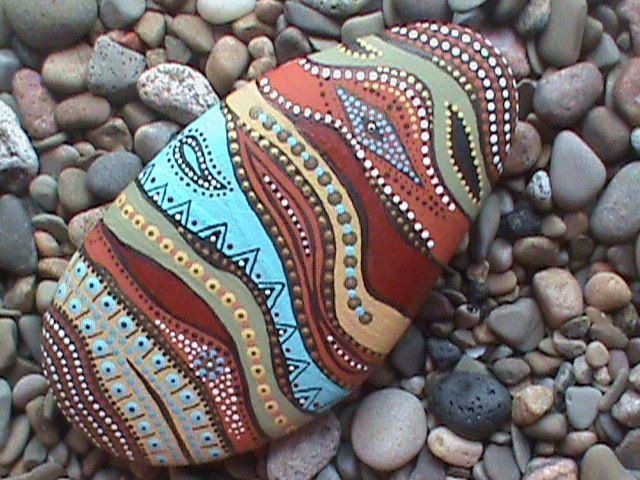 Hand Painted Stone  by Christine Salva
