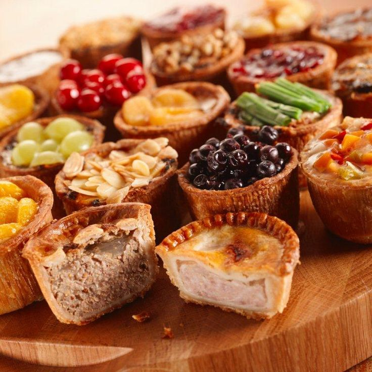 assorted british party piesParties Pies, Tiny Treats, Green Grape, Quintessentially British Food, Assorted British, Assorted Parties, Meat Pies, British Parties, Black Currant