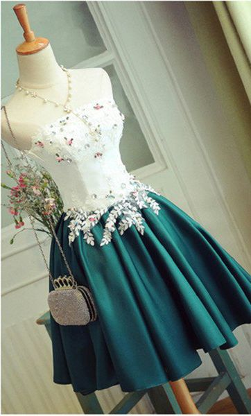Prom Dresses,Homecoming Dresses,Special Deep Jade Short Prom Dress With Appliques,Elegant Strapless Homecoming Dress,Short Homecoming Dress,Stain Cocktail Dress,Short Party Gown,A-line Sweet 16 Dress,Short Graduation Dress