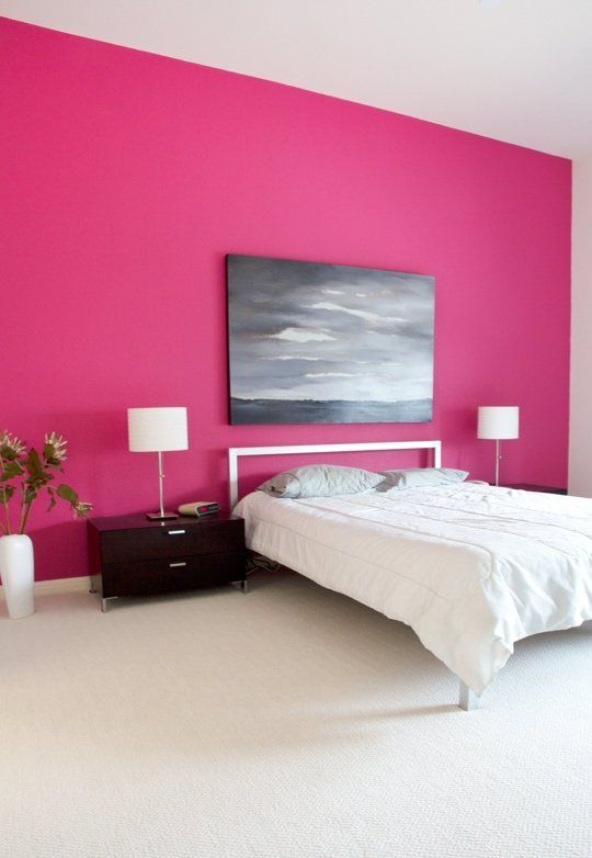 Pink Bedroom In A Contemporary Home In Austin Tx