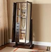 jewelry armoire stand up mirror cabinet - Stand Up Jewelry Box