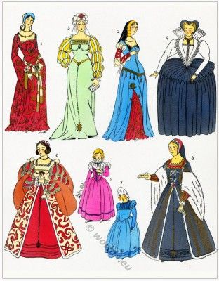 French female dresses. france medieval costumes, Renaissance 15th and 16th century clothing.