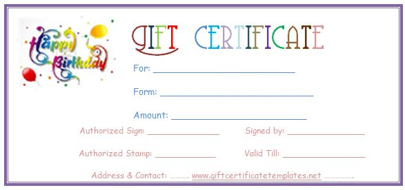 Simple balloons birthday gift certificate template – Present Voucher Template
