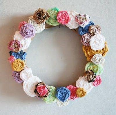 Recycled Roses Wreath: Wreaths Tutorials, Paper Rose, Flowers Wreaths, Fabrics Rose, Scrap Fabric, Spring Wreaths, Rose Wreaths, Recycled Rose, Fabrics Flowers