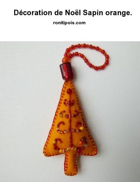 Décoration de Noël Sapin orange.