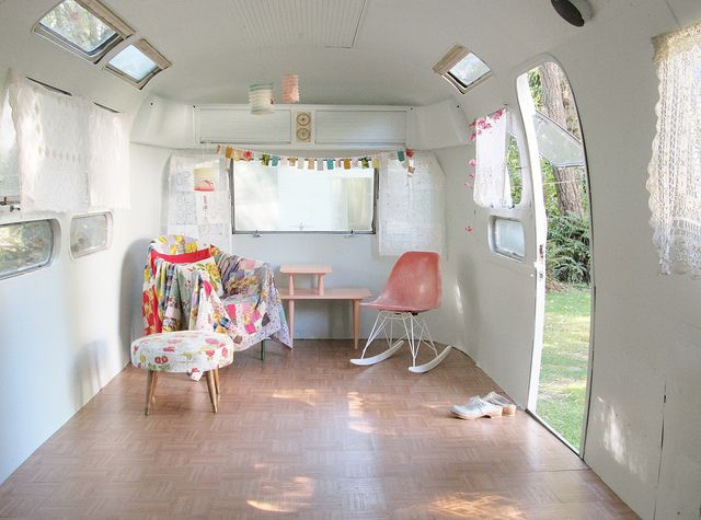Another airstream studio conversion with hardwood flooring...