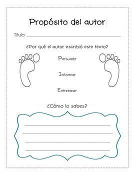 Proposito del autor - Author's Purpose (Spanish) Graphic O