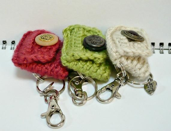 Crochet Coin Purse with Key Ring and Swivel Clasp