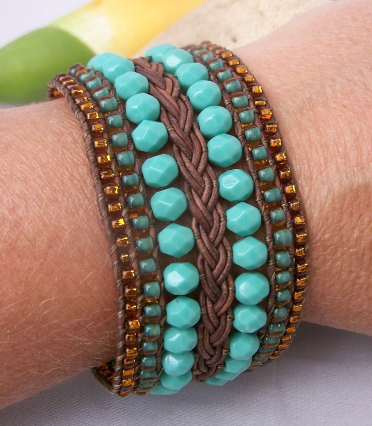 Beaded+and+Braided+Leather+Cuff+Bracelet+Turquoise+by+TNineDesign,+$92.00