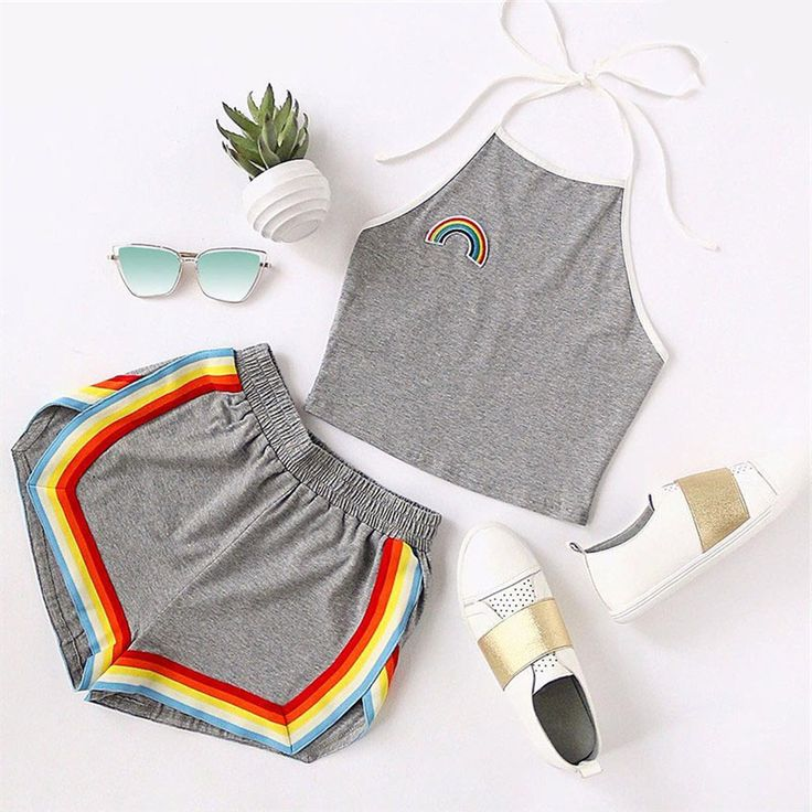 Starshine Rainbow Matching Set Halter Crop Top & Colorful Shorts in Gray