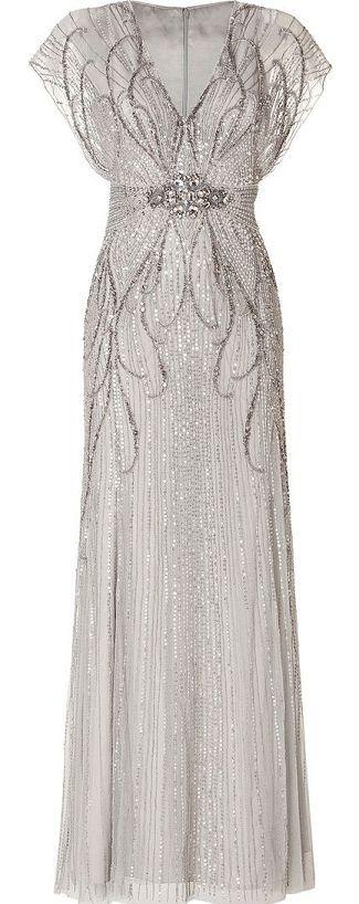 Jenny Packham   Silver Sequin Embellished Gown in Platinum