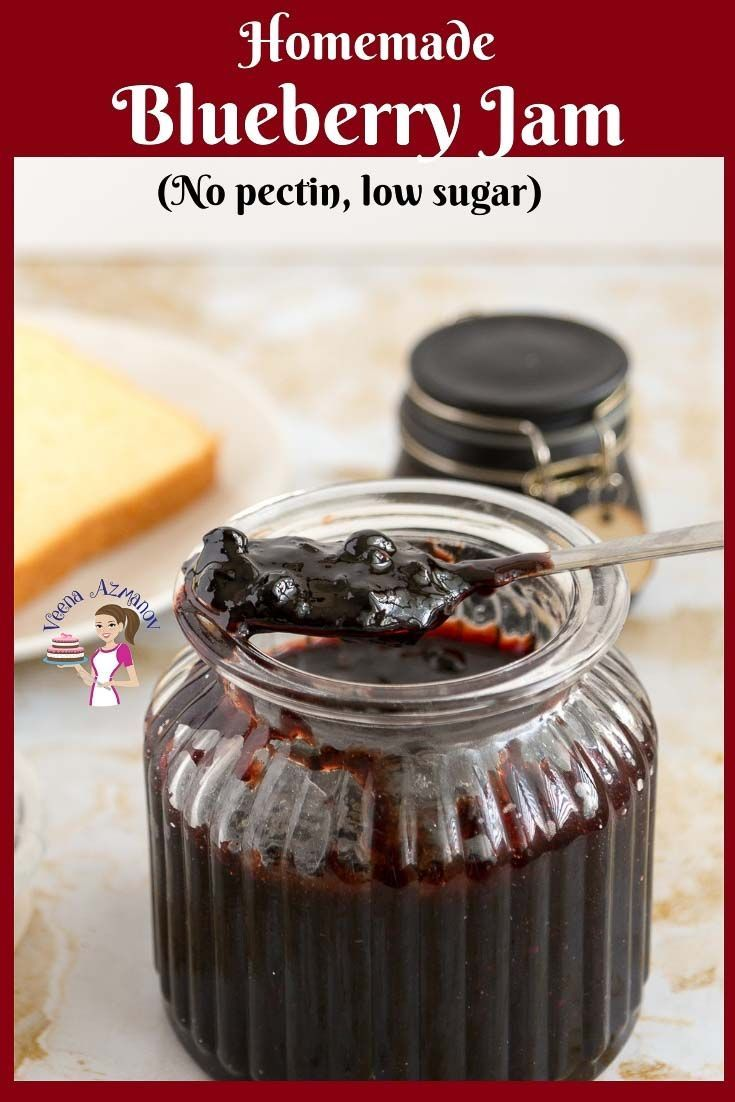 Learn to make this homemade blueberry jam without pectin and low sugar. Simple e…