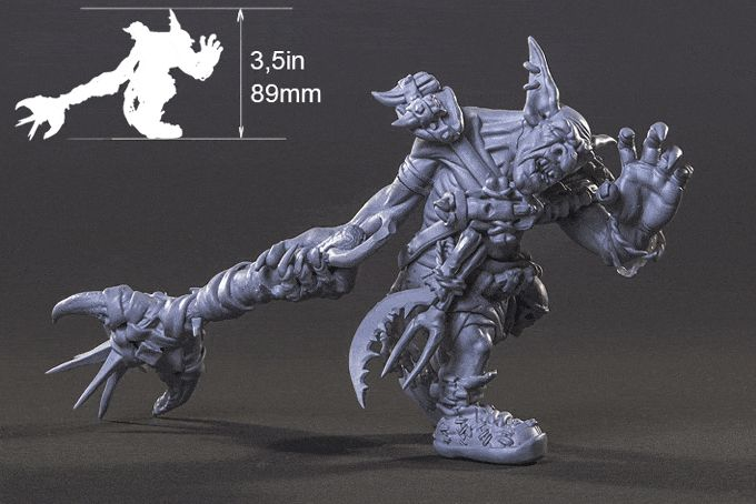 This is an actual 3D print model of the goblin Garr Jawbreaker. Every bit of surface is packed with fine detail.