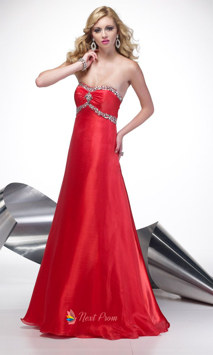 Red Strapless Prom Dress, Long Red Strapless Dress, Red Organza Dress $148.00