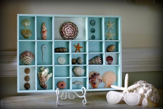 ~ Beach Decor ~ Vintage Seashell Shadow Box ~  Aqua
